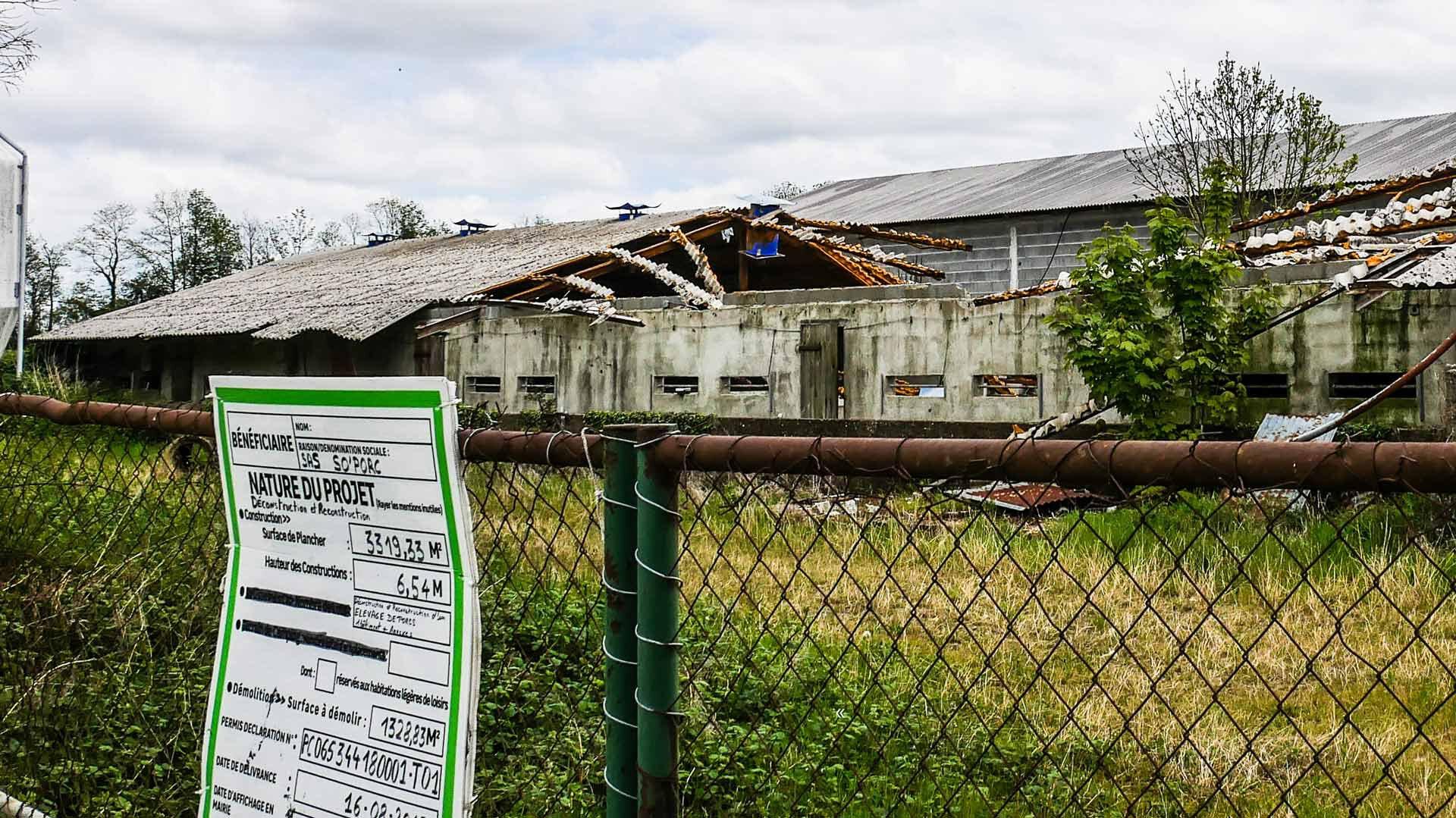 Le bâtiment abandonné d'Ossun, bientôt remplacé par une porcherie industrielle.