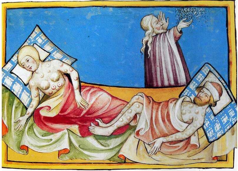 Enluminure de malades de la peste bubonique.