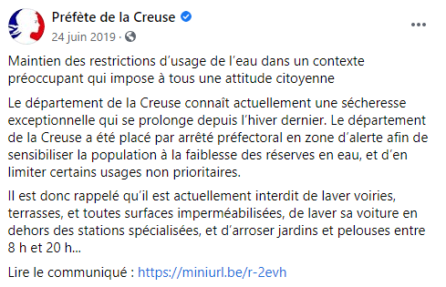 Tweet de la préfecture de la Creuse