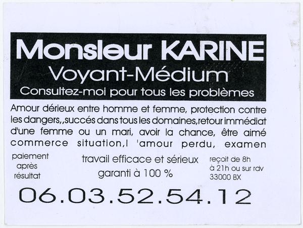 Flyer trouvé dans une boîte aux lettres de Bordeaux